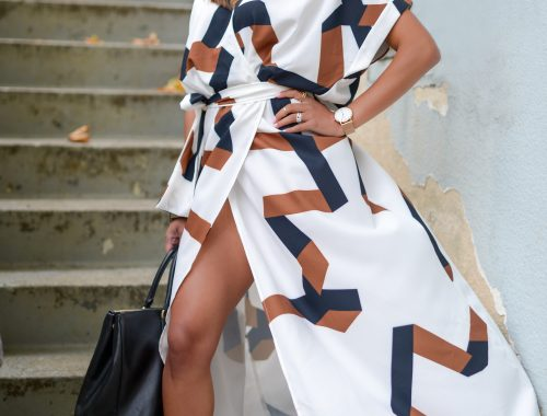 Brown and White Maxi