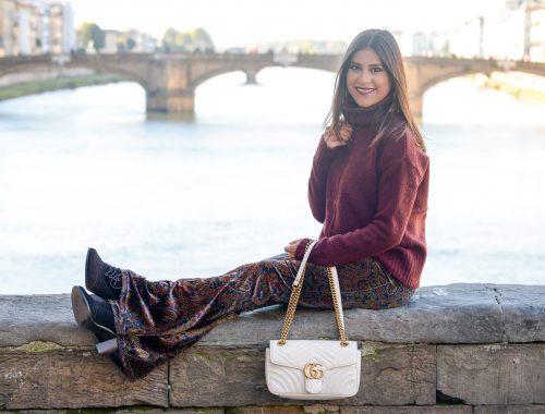 Velvet Flare Pants in Florence