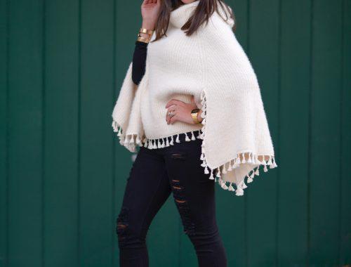 Cozy Chic in a Winter White Cape