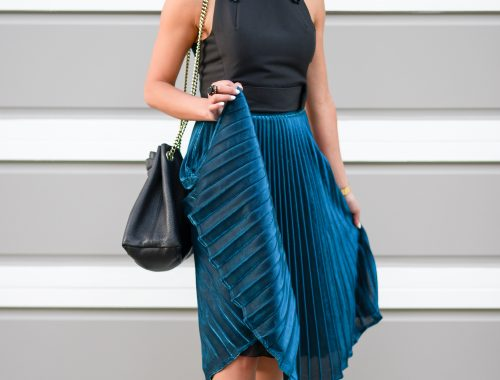 Pleated Midi Skirt and Lucite Shoes