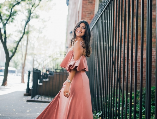 NYFW in an Off The Shoulder Maxi Dress