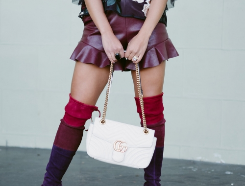Fall Flavor: Burgundy Faux Leather Shorts
