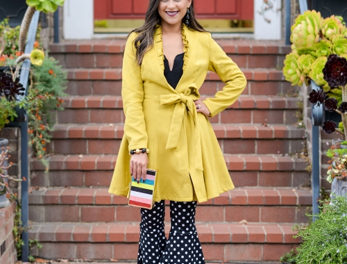 Chartreuse Coat Dress & a Side of Polka Dots