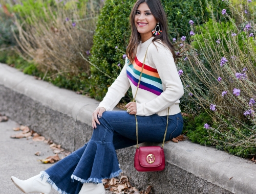 Rainbow Graphic Sweater and Flounce Hem Jeans