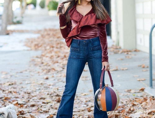Appear a Foot Taller in a Velvet Bodysuit and Flare Jeans