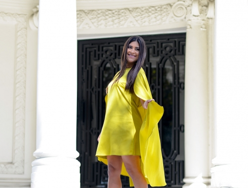Chartreuse Cape Dress and Rainbow Accessories