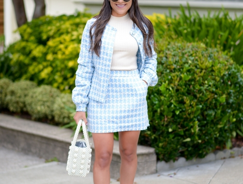 Houndstooth Suit and Pearl Accessories