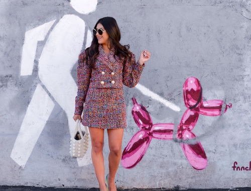 Rainbow Tweed Suit the Kelsey Kaplan Fashion Way