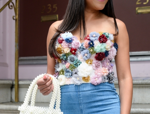 Floral Corset and Bell Bottom Jeans
